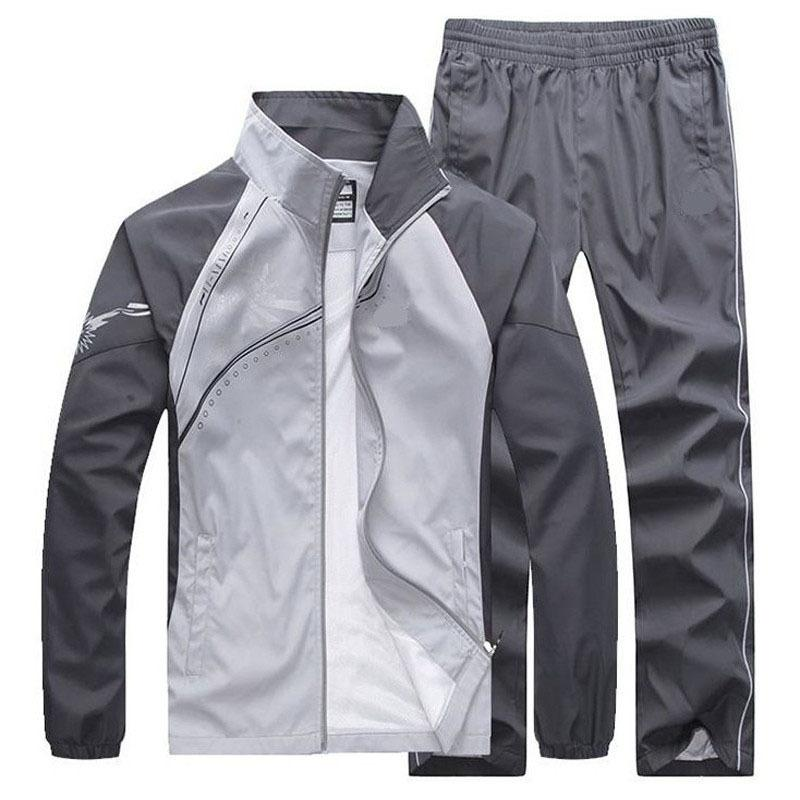 Nouveaux hommes Spring Spring Automne Tracksuit Homme Sportswear 2 pièces Ensemble Sport Veste Veste + Pantalon SweatSuit Homme Vêtements Asiatique Taille 5XL