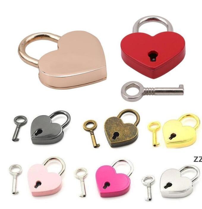 Yeni Kalp Kilidi Vintage Stil Mini Alaşım Aşk Asma kilit Archaize Şeftali Kalp Kilidi Seyahat Çanta Bavul Dizüstü Kırtasiye Asma Kilit HWE7984