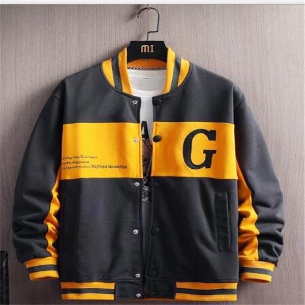 Primavera New Men's Fashion Stand-up Collare Casual Jacket Youth Trend Color Matching Stampa Allentato Baseball Uniforme Giacca da baseball Vestiti Cappotti Cappotti Cappotti