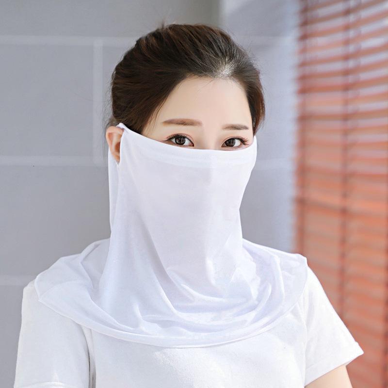 Gelo xale verão fino pendurado orelha pescoço de seda montando respirável pára-sol sunscreen máscara