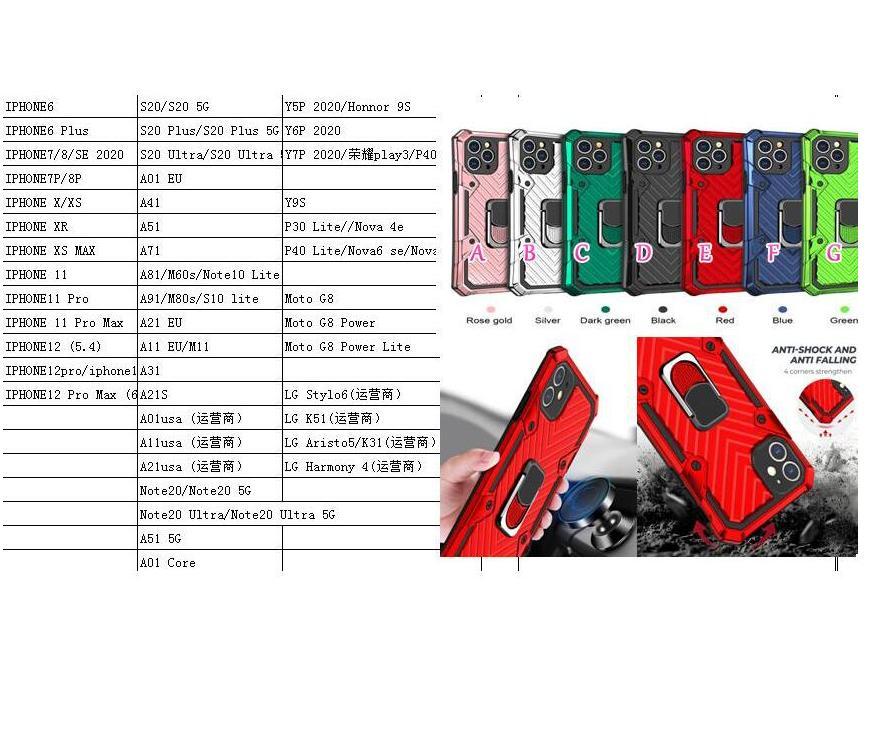 Casos de camada híbridos à prova de choque para Samsung Note 20 Ultra S20 Plus A01 Core A41 Heavy Duty Carro Suporte de Carro Ímã PC + TPU Capa de Anel de Dedo