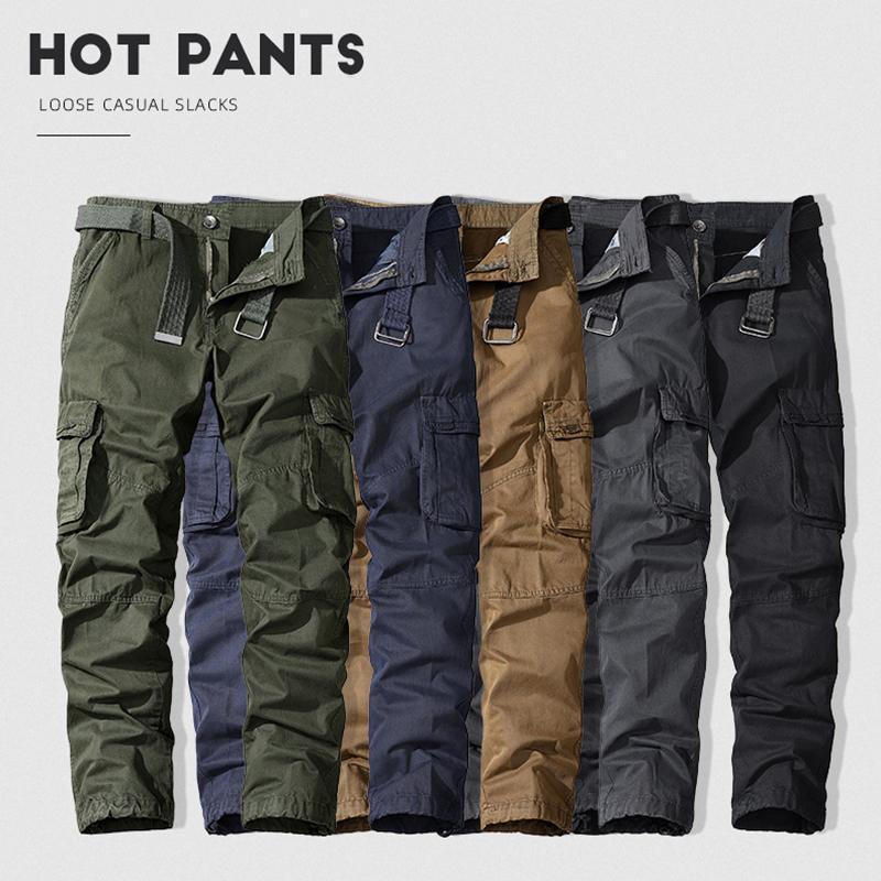 망 순수 코튼화물 바지 캐주얼 탄성 다중 포켓 군사 남성 바지 야외 조깅자 바지 느슨한 헐렁한 스웨트 팬츠