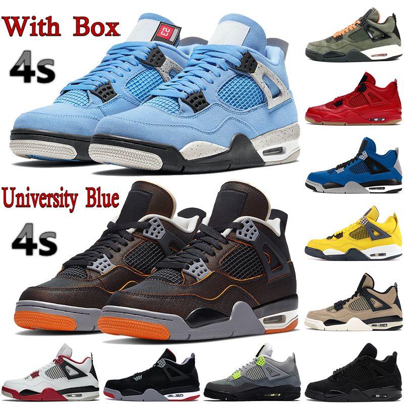 Con caja 4 4s zapatos de baloncesto para hombre universidad azul metálico púrpura negro gato estrella criada se neón cactus jack hombres mujeres zapatillas de deporte