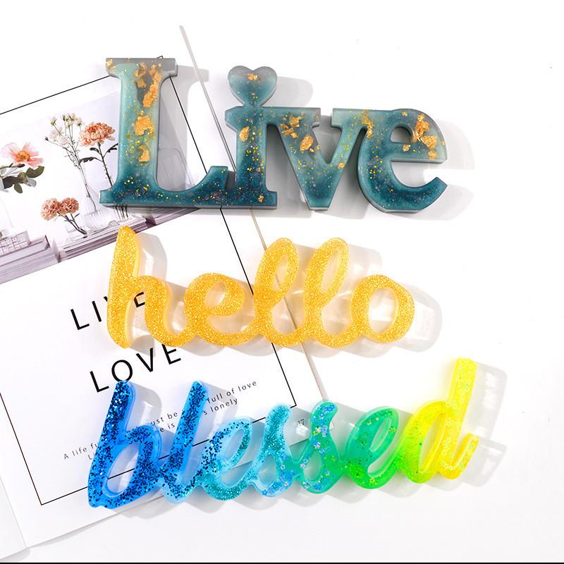 DIY Epoxy Resin Mold Word Hello Love Live Blessed Crystal Epoxys Mould Handmade Ornament Yourself for Home Office Decor
