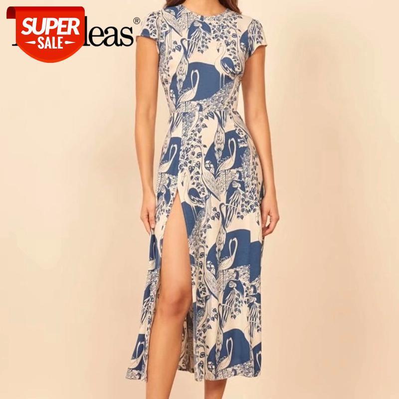 2021 Verano Casual Vestidos Split Vestidos Backless Vestidos Elegante Azul Geométrico Imprimir Mujer Vestido de verano Vestido Midi de manga corta sexy # BD5F