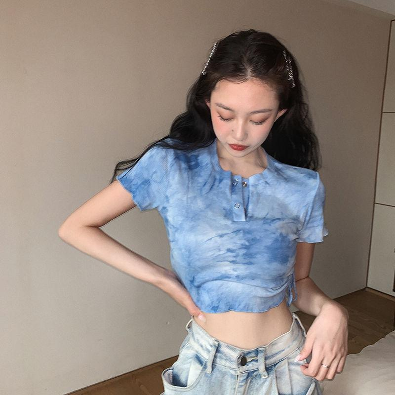 Tie Dye Side Lace Up Short T-shirt Women's Summer Slim Sexy Open Navel Sleeve Top Fashion In 2021 Tanks & Camis