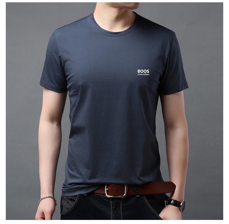 Boos seda cor sólida versátil t-shirt manga curta camisa masculina47de