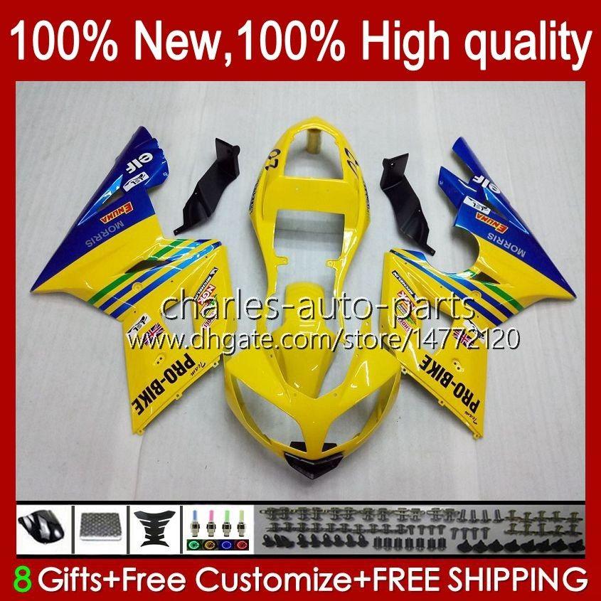 Triumph Daytona 600 650 CCデイトナ650 02-05カウリング104HC.11イエローブルーDAYTONA600 2002 2002 2003 2004 2005ボディーデイトナ600 02 03 04 04 05フルフェアリング