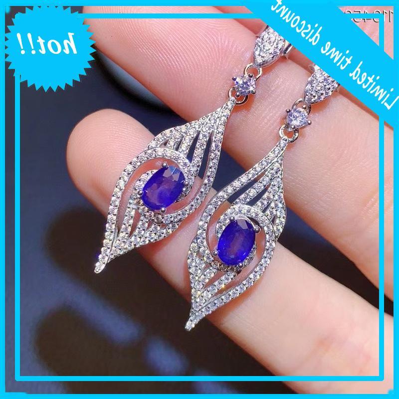 100% Real Blue Drop para Pendientes de boda 925 Silver Sapphire Jewelry