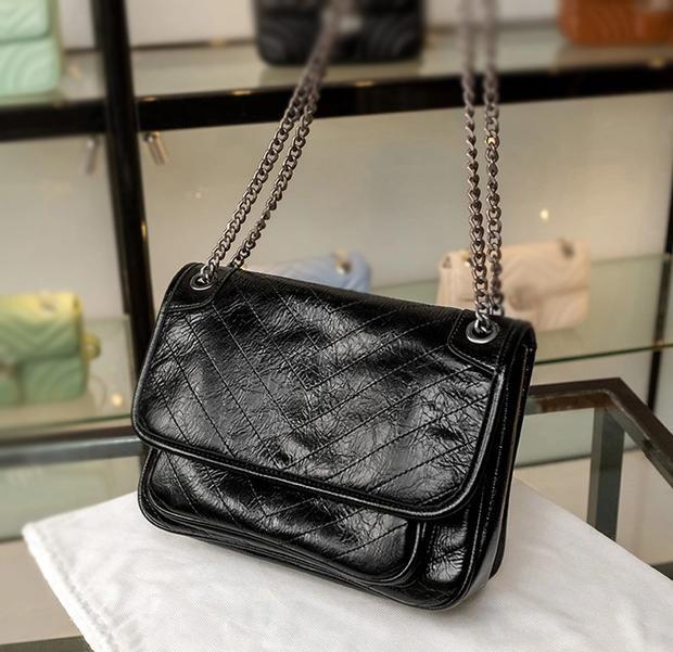 Bolso de mensajero de diseño de alta calidad para señoras, embrague de marca de moda, cadena de metal Bolsa de hombro de moda caja de regalo de lujo