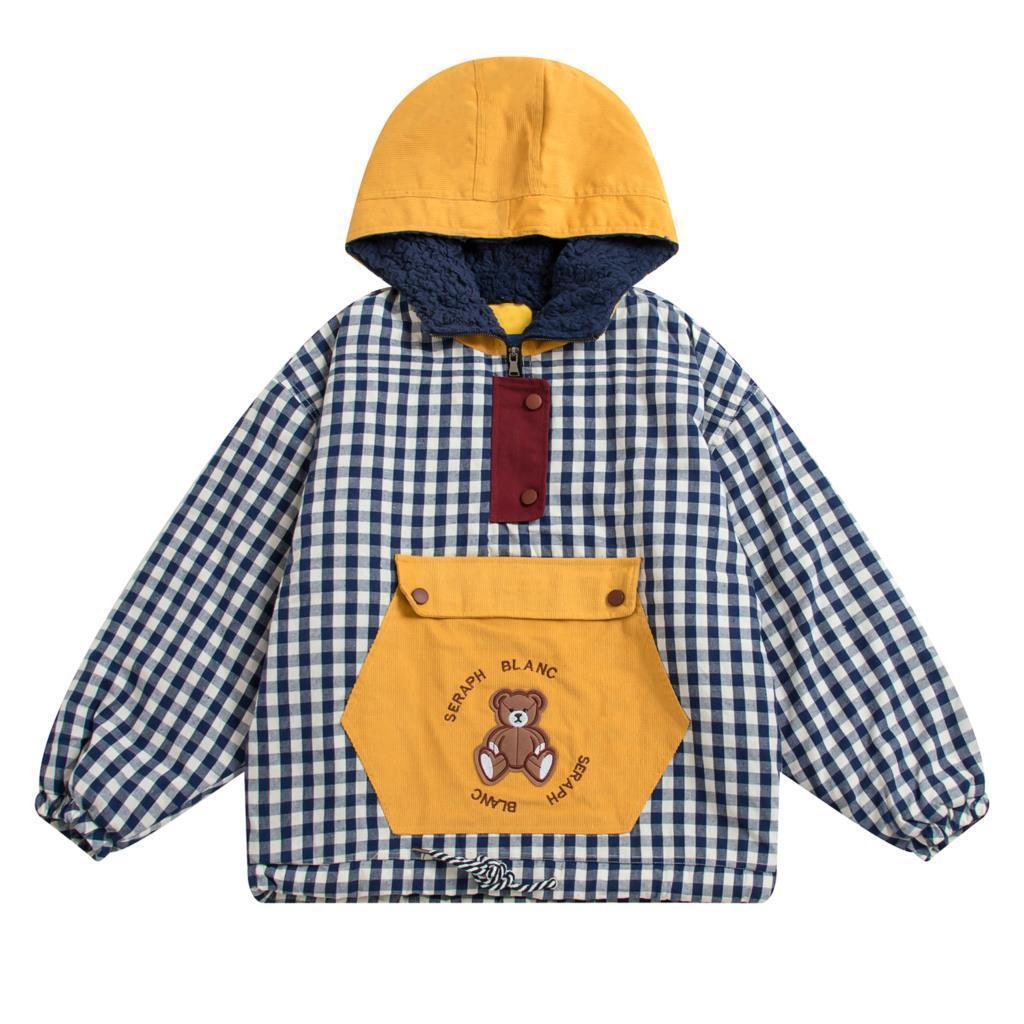 Kadınlar Kış Parkas Mont Kalınlaşma Pamuk Kış Artı Kadife Kuzu Ceket Kapşonlu Dış Giyim Sevimli Ayı Ekose Kız Gevşek Ceket 210515