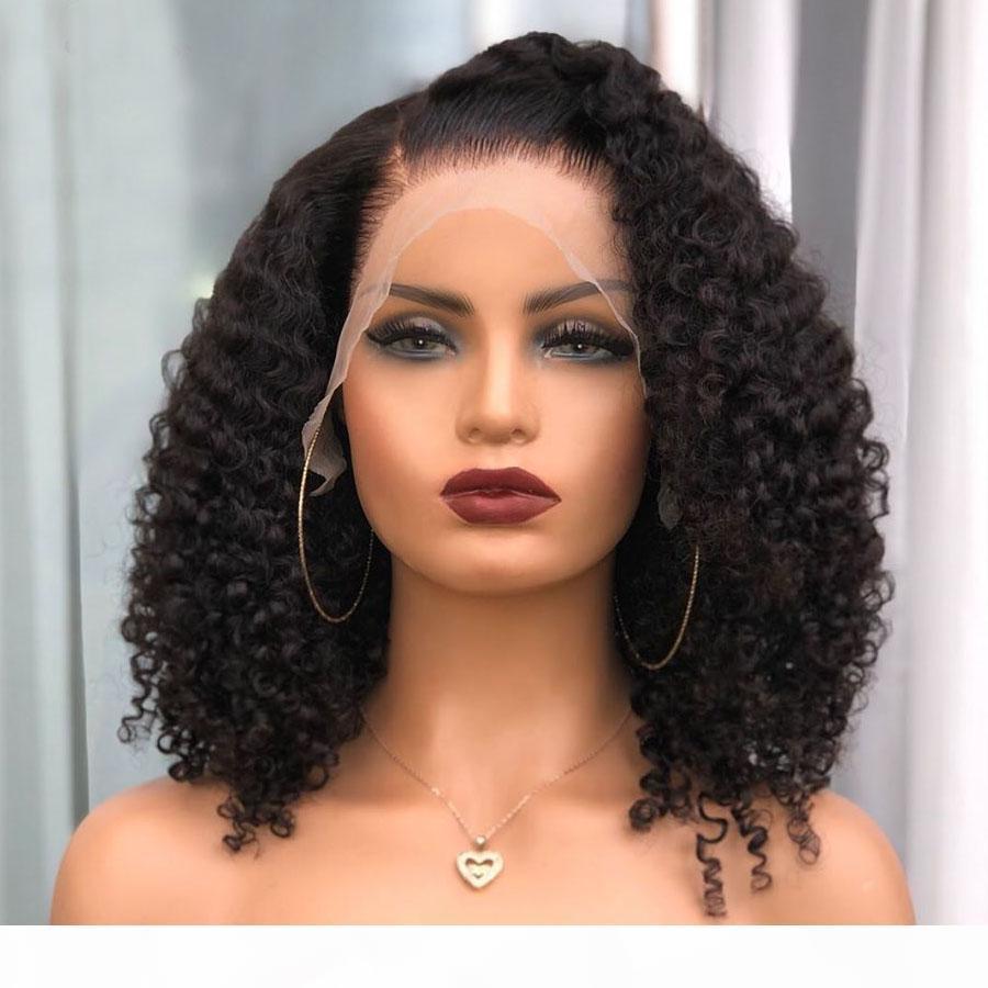 Indian Kinky Curly Curto Bob Perucas 180Density Seda Top Completa Perucas de Cabelo Humano com Cabelo Bebê Prejuídos 360 Perucas Frontais de Laço