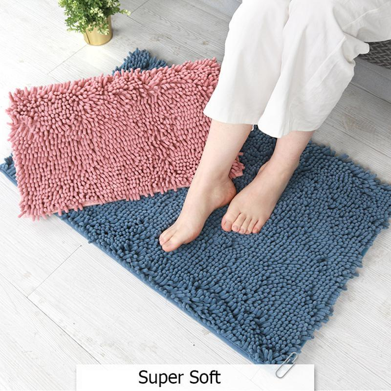 Carpets 40*60cm Bathroom Carpet, Chenille Long Hair Non-Slip Floor Mat, Door Washing Basin Bathtub Absorbent Foot Mat