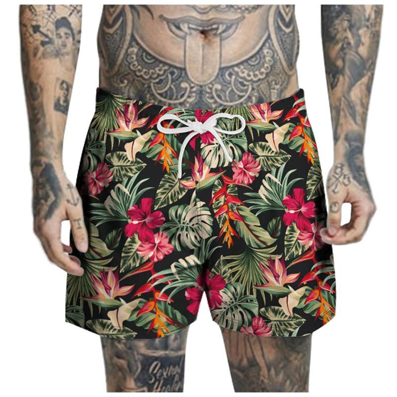 Shorts masculinos verão praia cordão casual flor bambu impresso trabalho trabalho banho calça curto 2021 m19