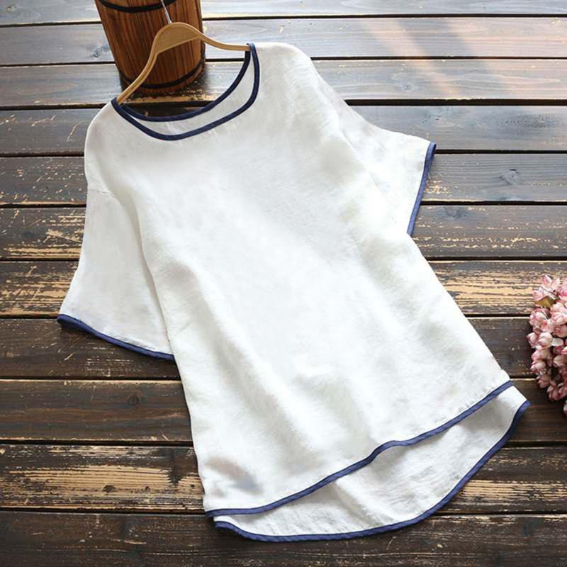 المرأة t-shirt زائد حجم النساء بلايز بلون خليط بسيط الصيف woemn قمم عارضة س الرقبة قصيرة الأكمام المتناثرة الرسومات المحملات # T4G