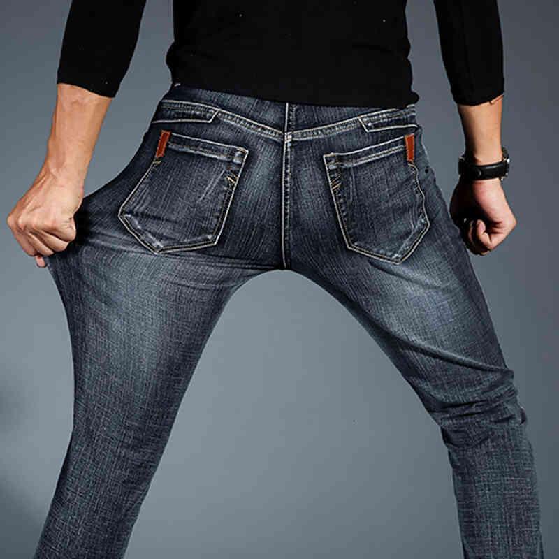 2019 새로운 망 패션 블랙 블루 청바지 남성 캐주얼 슬림 스트레치 청바지 클래식 데님 바지 바지 플러스 크기 28-42 고품질