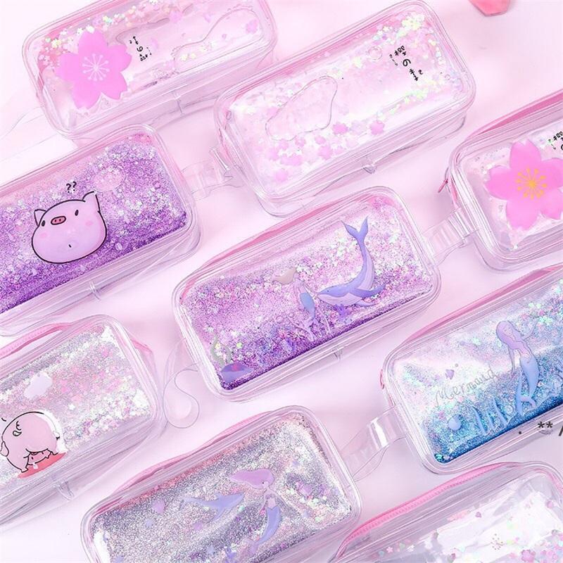 KwiqueSand شفاف القلم حقيبة رصاص عالية سعة تخزين أكياس التجميل القرطاسية فتاة اللوازم المدرسية جميلة حورية البحر الوردي خنزير EWD9712
