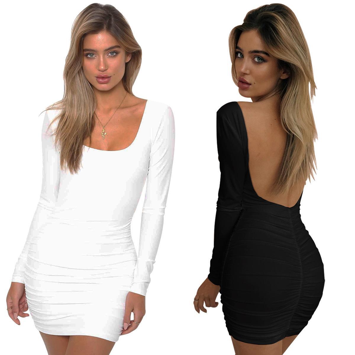 Damen Designer Mode Dressblack und weiße Langarm Sexy Backless Bag Hüfte Falten Nachtclub Kleid 9VUO