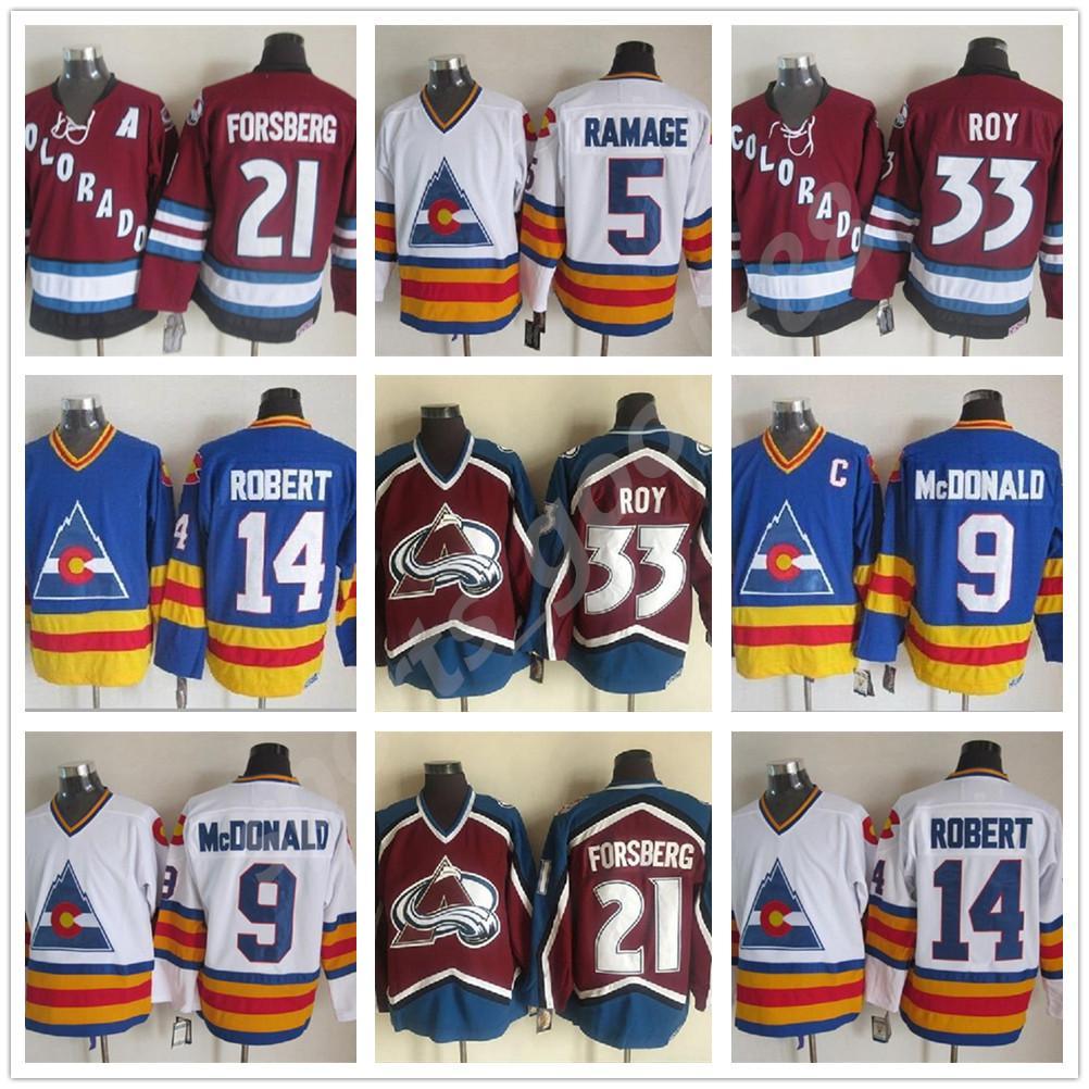 Мужские женщины дети 1981 года старинные Колорадо Хоккей 27 Джон Венсерс 5 Роб Рамдж 14 Rene Robert Lanny McDonald Glenn Chico Resch Jerseys