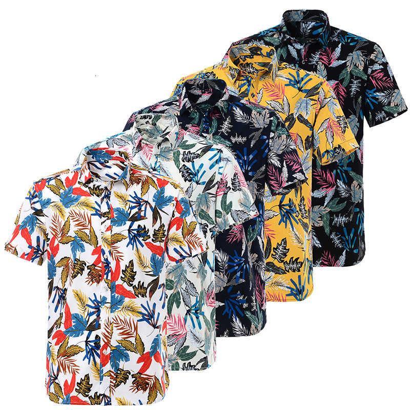 2021 camisa de manga corta impresa de algodón hawaiano camisa de la playa europea de los hombres