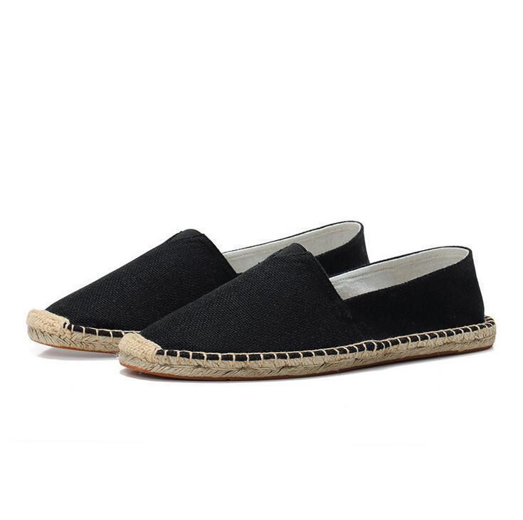 Kutu Yaz Rahat Keten Ayakkabı Erkekler Bayan El Yapımı Saman Kenevir Balıkçı Ayakkabı Tembel Bir Pedal Kanvas Ayakkabı Boyutu 35-45