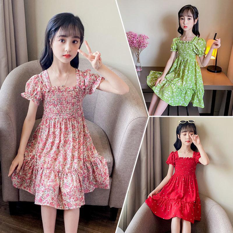 2021 Nuovo chiffon corsetto estate abito da estate piccola ragazza rossa