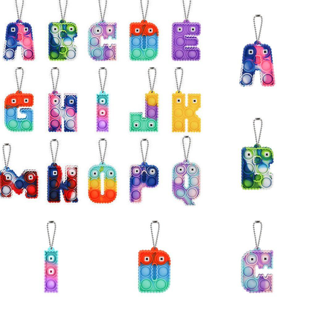 Sensory Fidget Bubble Poppers Toy Anillo Alfabeto Alfabeto 26 Forma de letras Push Bubbles Popper Board Llavero Llavero Puzzle de Dedo Charm Tie Dye Rainbow Color Bag Hanging G60FD7J