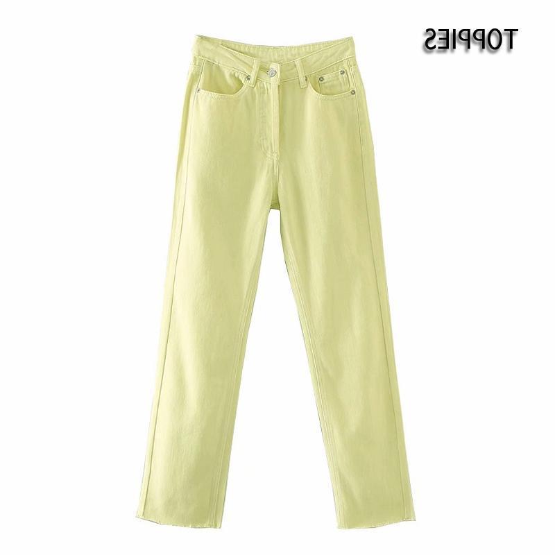 Jeans das mulheres toppies amarelos 2021 mulher cintura alta denim calças retas tornozelo calças calças