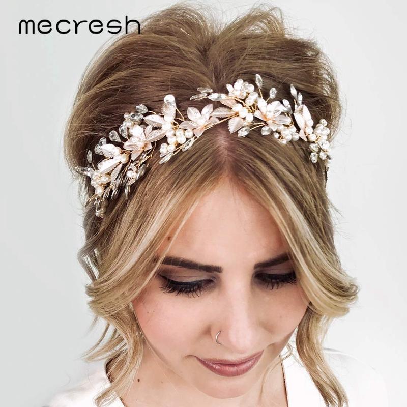 Haarklammern Barrettes mechanisch Simulierte Perle Handgemachte Goldfarbe Bridal Pins Kristallblume Hochzeitszubehör Stirnband Ornamente MTS111