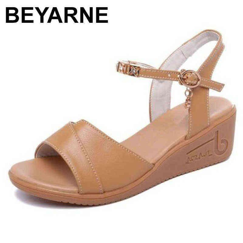 BEYARNE Special price promotion big size women shoes casual sandals flat wedge genuine leather wild fashion 210712
