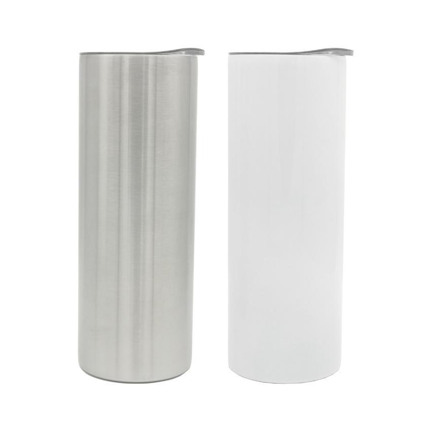 20oz sublimazione sottovuoto tazza dritta tazza di calore trasferimento di calore stampa skinny bianco bicchiere bianco blank fai da te 304 tumblers in acciaio inox lla539