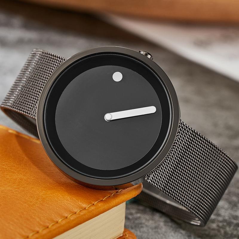 Wristwatches Unique Minimalist Quartz Watch Men Women Couple Wristwatch Creative Turntable Dial Fashion Leather Steel Outdoor Sport Clock