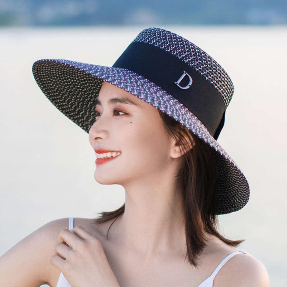 Соломенная Женская Летняя УФ Защита Большой Брейм Корейский D Слово Универсальный открытый пляж Sun Hat