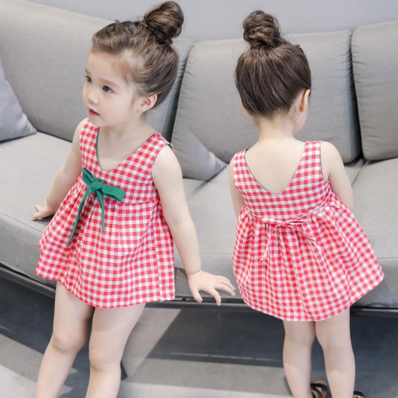 Abito estivo per ragazze 2021 New Plaid Princess 3 Bambini Bambino Gonna Gonna 1-5 anni