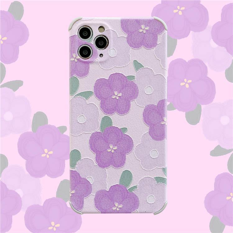 Floral Donne Girls Cell Phone Cases Ultra IMD Beautiful Purple Pattern Case Case Protezione della fotocamera Copertura antiurto per iPhone X MAX 11 PRO 12