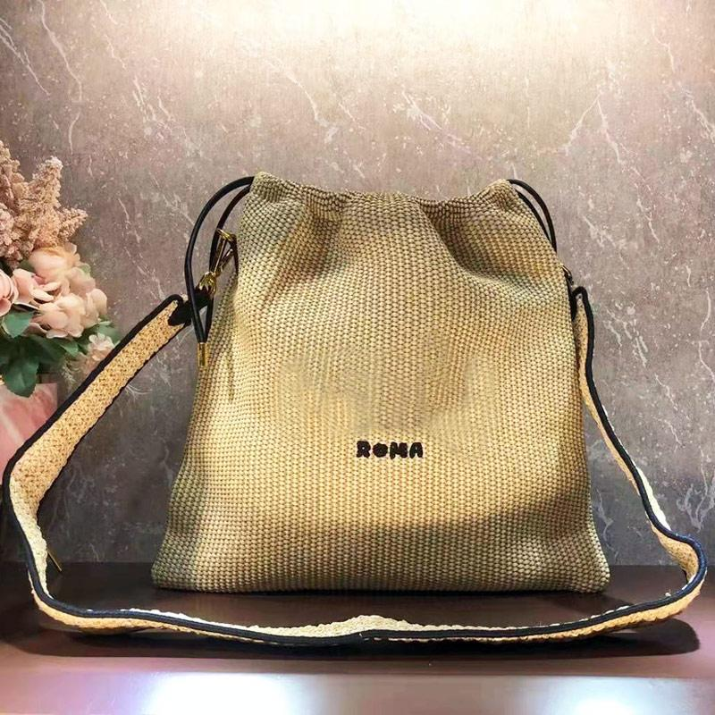 Pouch Bag Straw Woven Handbag Raffia Crossbody Bags Pack Fashion f letter Detchable Drawstring Shoulder Strap Golden Hardware High Quality Two Size