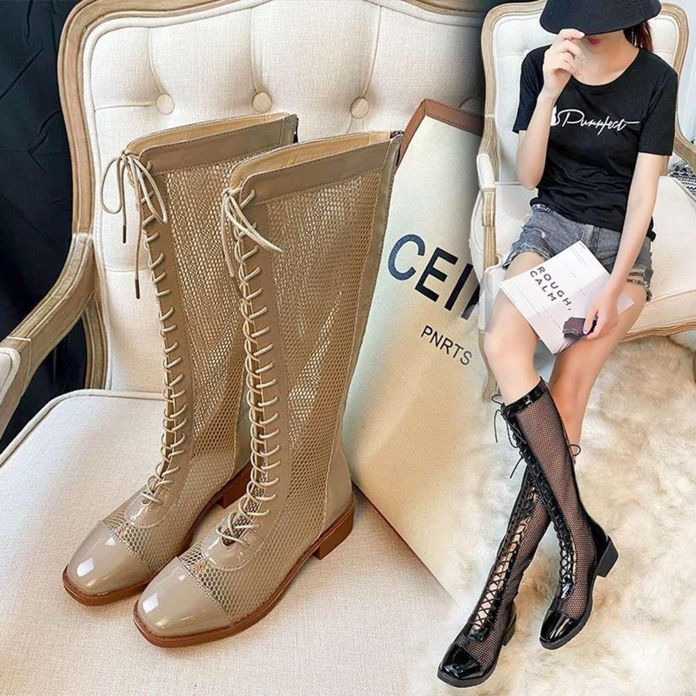 BOOTSSSSummer Net Red Roman Hollow Mesh Lace Up High Trend Lady Temperament Boots Elegantes
