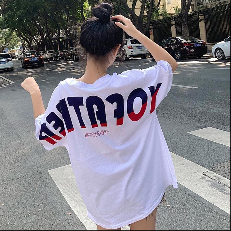Harajuku Tops para mujer Kawaii Letra Impresión Tshirt Summer Extranjero Camiseta larga Casual suelto Ulzzzang Streetwear Camisas Ropa