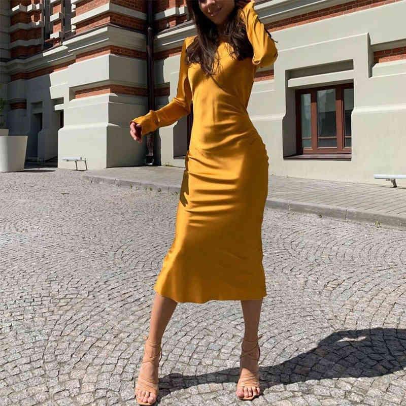 Women's Hoodies & Sweatshirts Novo vestido feminino liso longo cetim, elegante com manga comprida gola redonda PFAY