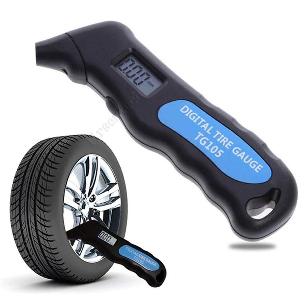 Digital Neumático Aire Medidor de medidor de medidor LCD Electrónico Coche Manómetro Manómetro Barómetros Teser Herramienta para automóviles Alarma de seguridad de motocicletas