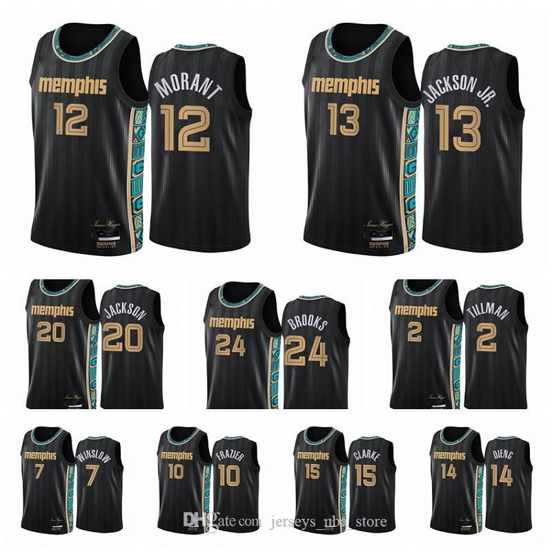 MemphisGrizzliesHommes Ja Morant Jaren Jackson Jr. Dillon Brooks 2020/21 Swingman City Jersey Basketball Noir Nouveau Uniforme