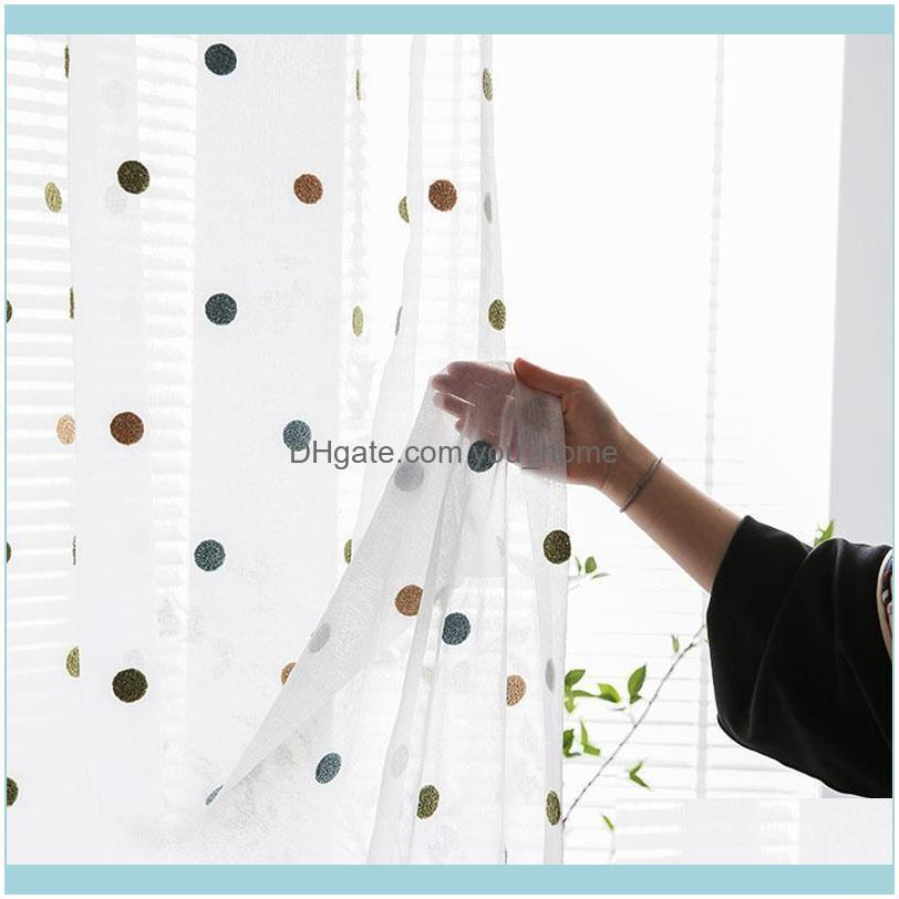 Deco El Supplies Home Gardennordic Simple Colorful Dots Embroidery Window Screen For Living Room Bedroom Kids Cartoon Tulle Curtain Custom Z