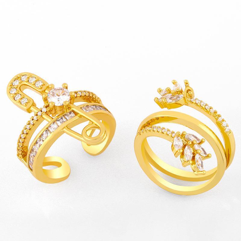 다이아몬드 핀 종이 클립 여성 패션 오프닝 레드 인덱스 손가락 반지 RIK06