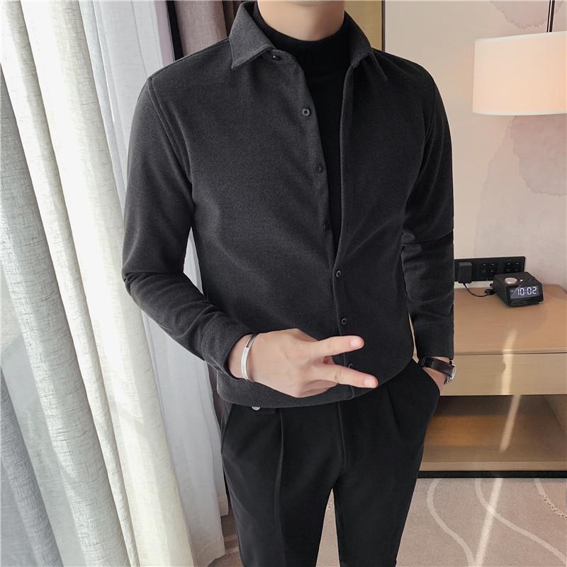 봄 2021 가짜 2pieces 두꺼운 셔츠 남성 긴 소매 솔리드 모든 일치 슬림 피트 캐주얼 신사 블라우스 homme 고품질 남성