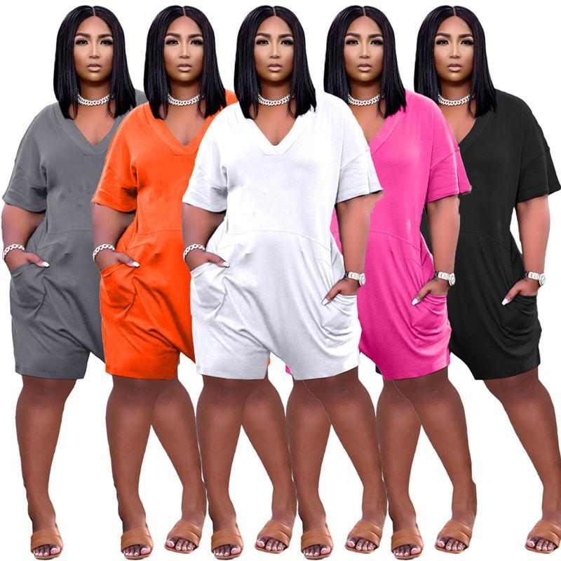 Mulheres Plus Size Jumpsuits Summer Casual Loose Zipper Macacões de manga curta T-shirt de pescoço Calções Vest S / M / L / XL / 2XL / 3XL