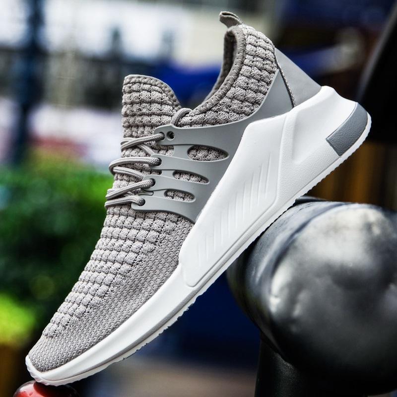 EUR39-46 الأحذية الرياضية الرجال أحذية رياضية متعطل مريحة محبوك النسيج الركض الذكور الاحذية