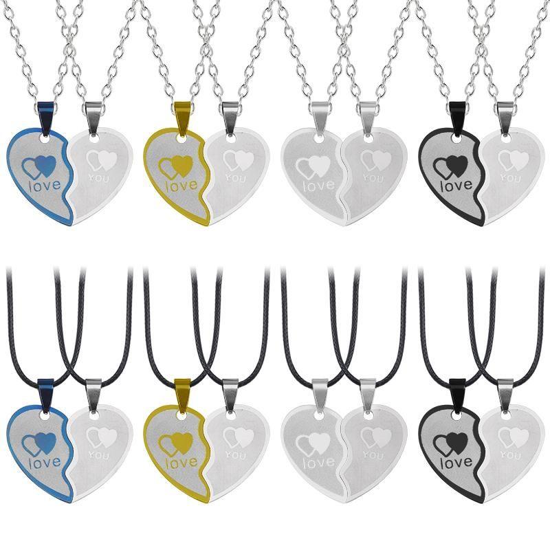 Collier 2 pièces Collier bleu corlour Couverture Couture Pendentif en acier inoxydable Chaîne en acier en acier inoxydable corde de bijoux de mode en option Colliers cadeaux