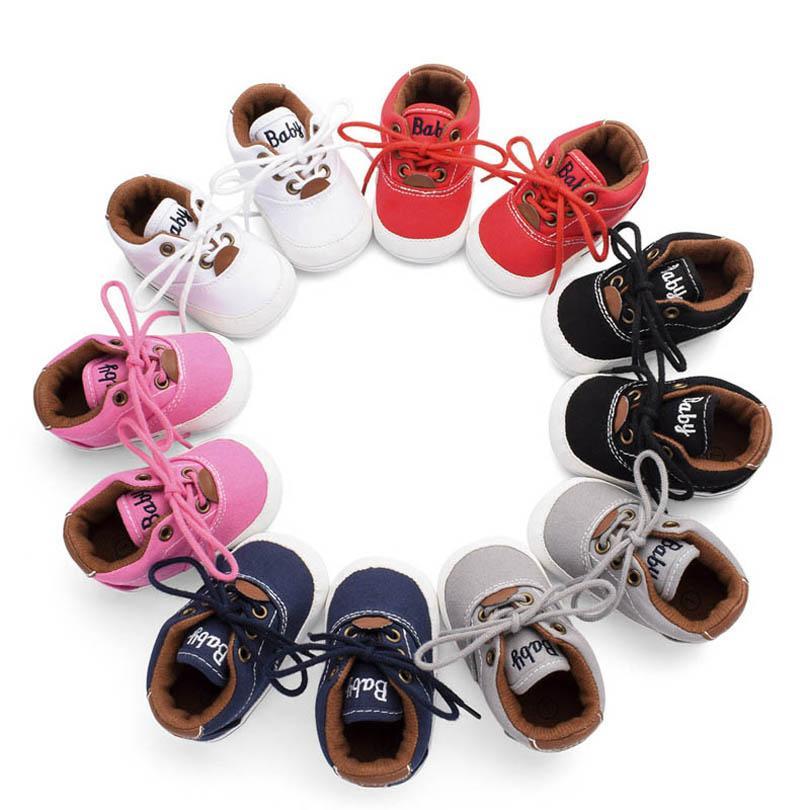 أحذية الطفل الأولى المشاحين طفل الفتيات الفتيان الأحذية الطفل الخريف قماش الأخفاف لينة الرضع ارتداء أحذية رياضية B6462