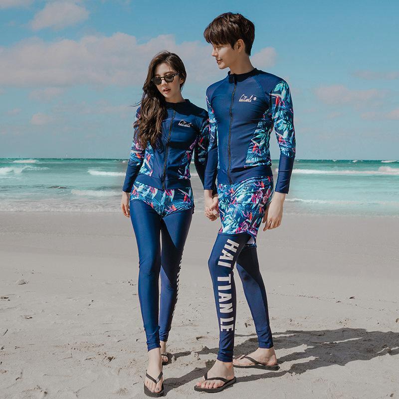 Pareja traje de baño manga larga traje de baño pantalones cortos de 5 piezas conjunto rashguard mujeres surfear buceo rápido traje de baño de una sola pieza