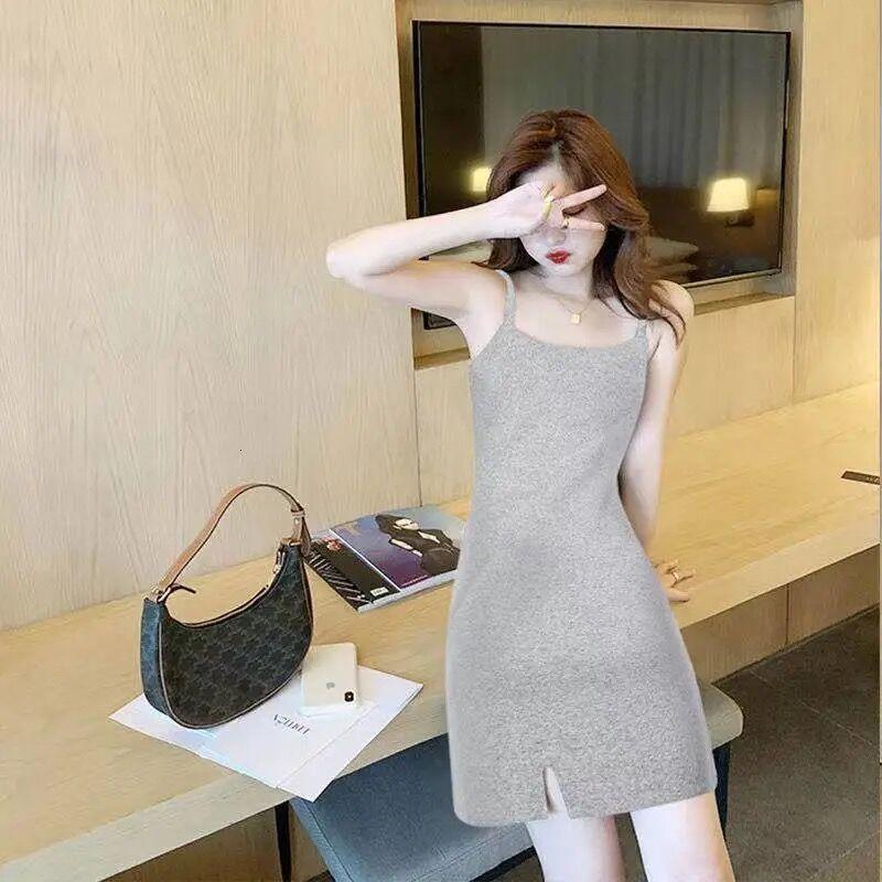 2021 Spring and Summer Split A-line Skirt Short Dress Women's Suspender Skirthn6x